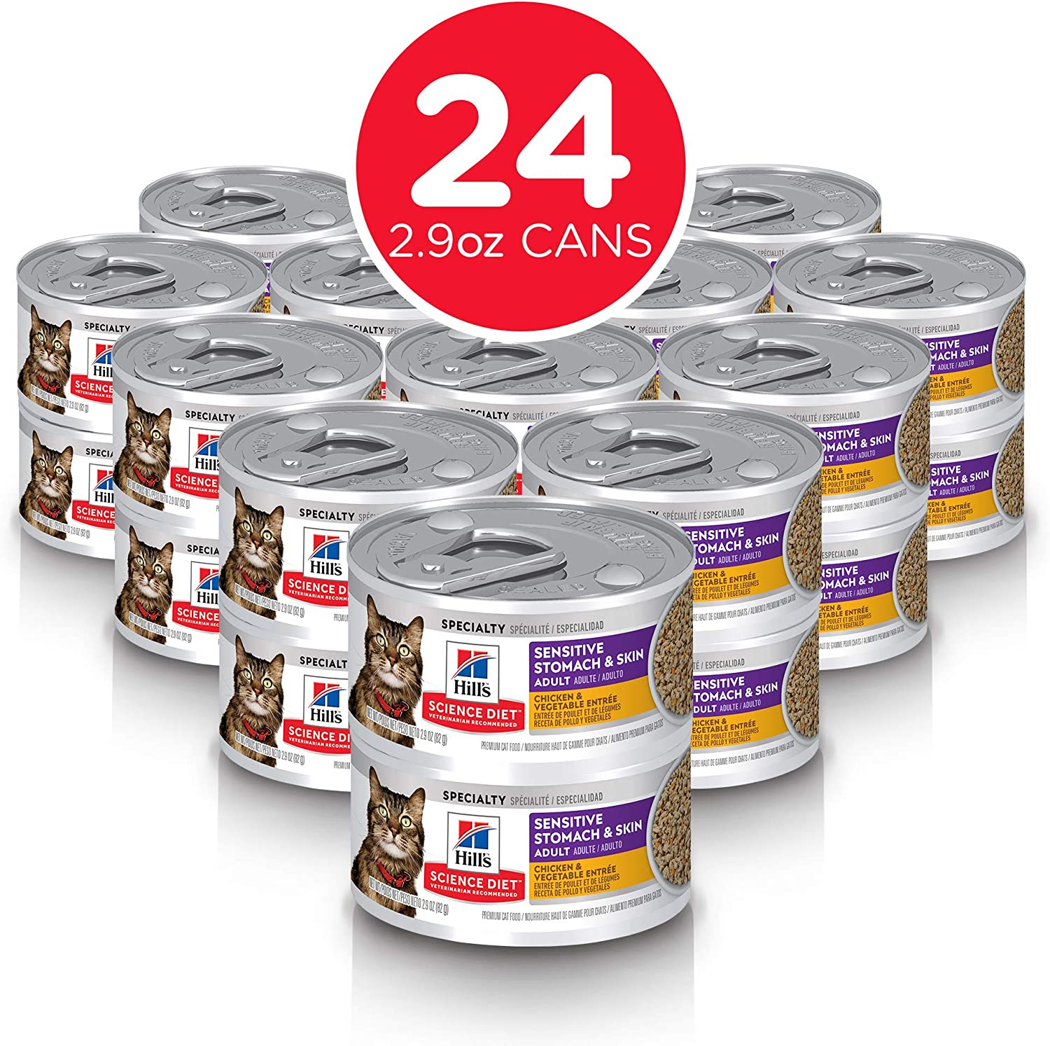 Hill's Science Diet Adult Sensitive Stomach & Skin Tuna & Vegetable Entrée Canned Cat Food