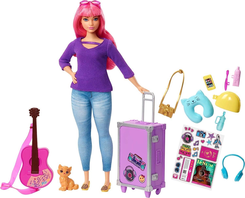 Barbie Travel Doll Vamos de Viaje, muñeca Daisy con accesorios (Mattel FWV26), multicolor