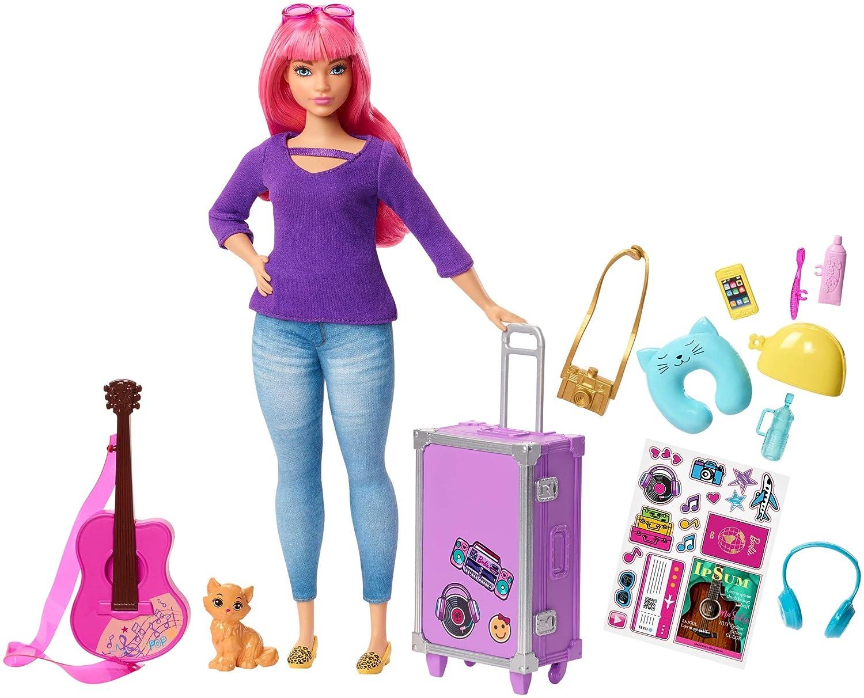 achat Barbie Voyage poupée Daisy aux cheveux roses avec sa valise, figurine de chat, guitare, autocollants et accessoires, jouet pour enfant, FWV26 pas cher prix