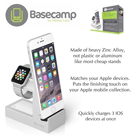 Basecamp Apple Watch Charger, Apple Watch Dock Stand, 3-in-1 with LED Nightlight