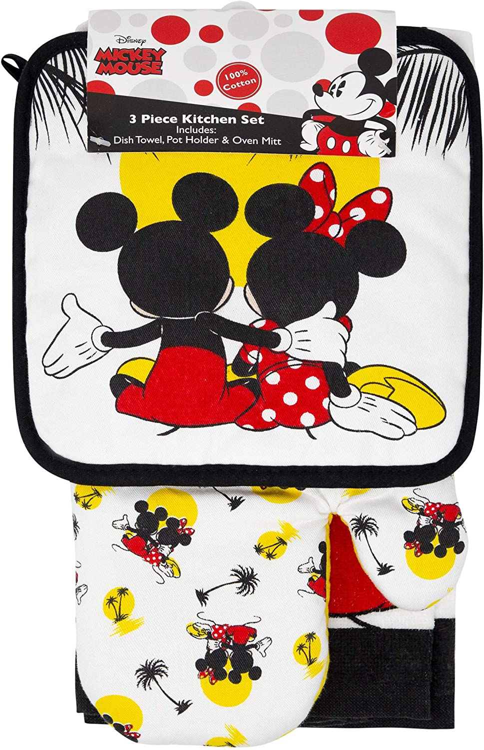 Jerry Leigh Mickey and Minnie Mouse Kitchen Towel Potholder Oven Mitt 3-Piece Set