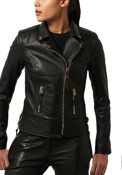 Amazon.com: Chaqueta de piel para mujer, color negro, talla ...