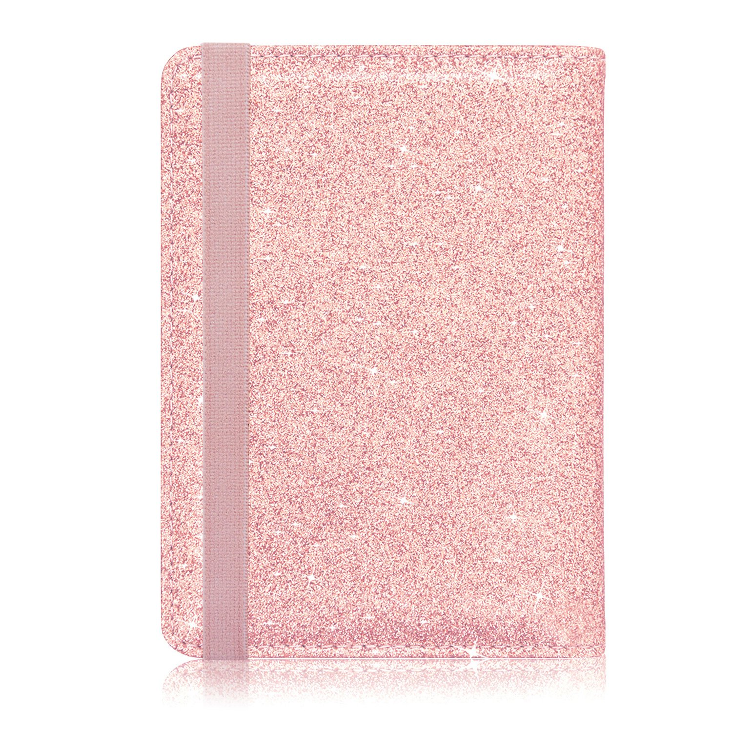 Passport Holder Cover, ACdream Travel Leather RFID Blocking Case Wallet for Passport with Elastic Band Closure, Rose Gold Glitter by ACdream (Image #6)