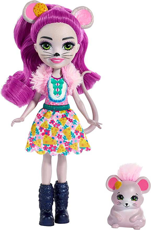 Enchantimals FXM76 Mayla Mouse Doll (6 Inch), and Fondue Animal Friend Figure, Multicolour,Mattel,FXM76