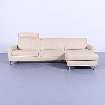 Ewald Schillig Designer Ecksofa Beige Creme Leder Couch Kopfstutze