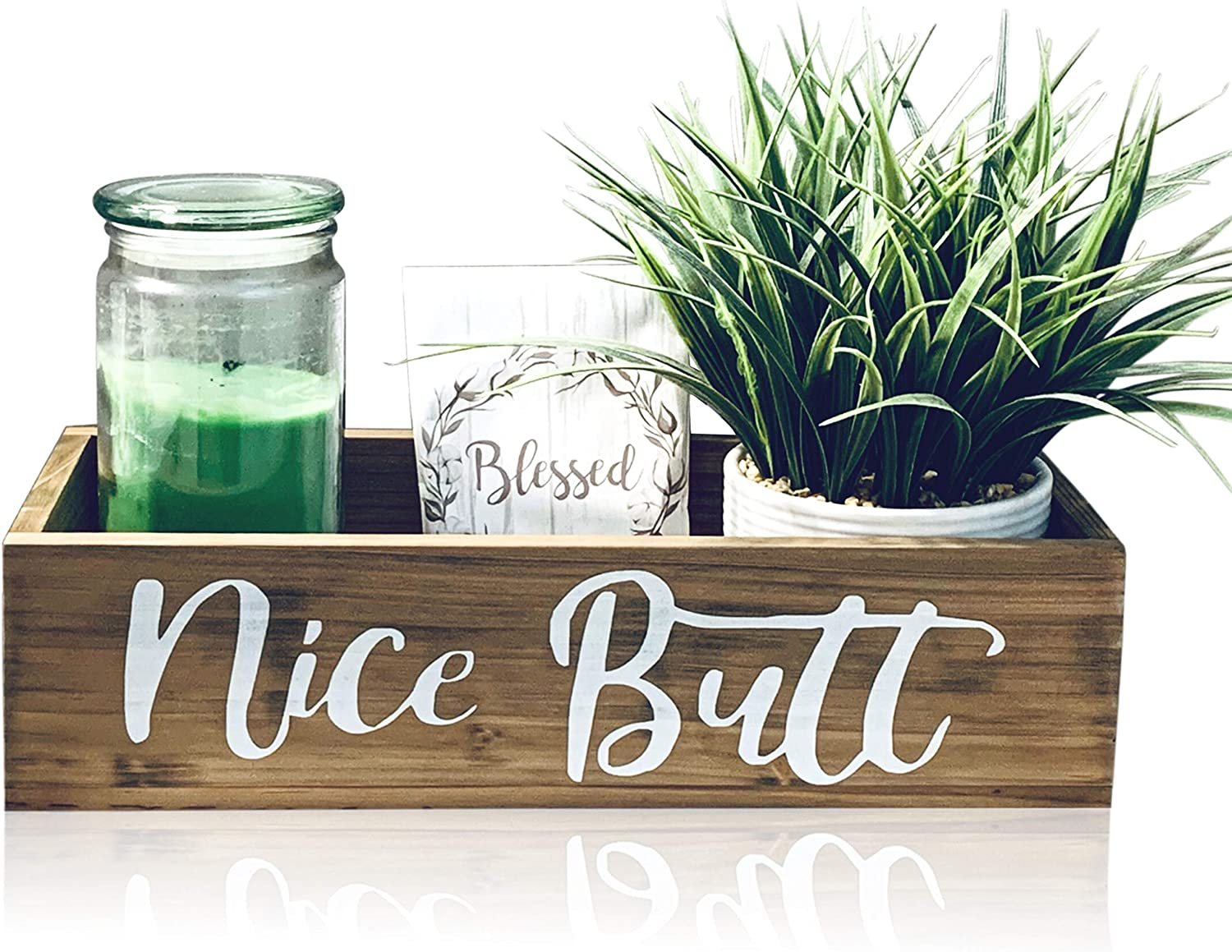 Amazon Com Bathroom Decor Box Nice Butt Toilet Paper Holder Rustic Farmhouse Home Decor Funny Country Wooden Bathroom Decoration Accessories 100 Pine Wood And Painted Kitchen Dining