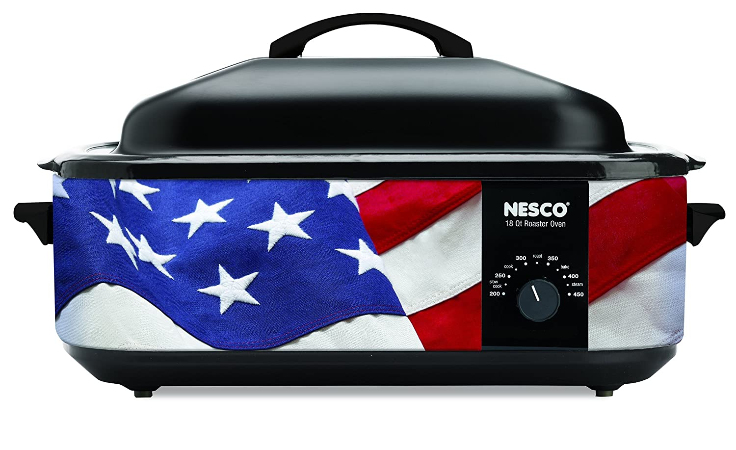 NESCO 4818-76, Patriotic Roaster Oven with Porcelain Cookwell, Red/White/Blue, 18 quart, 1425 watts