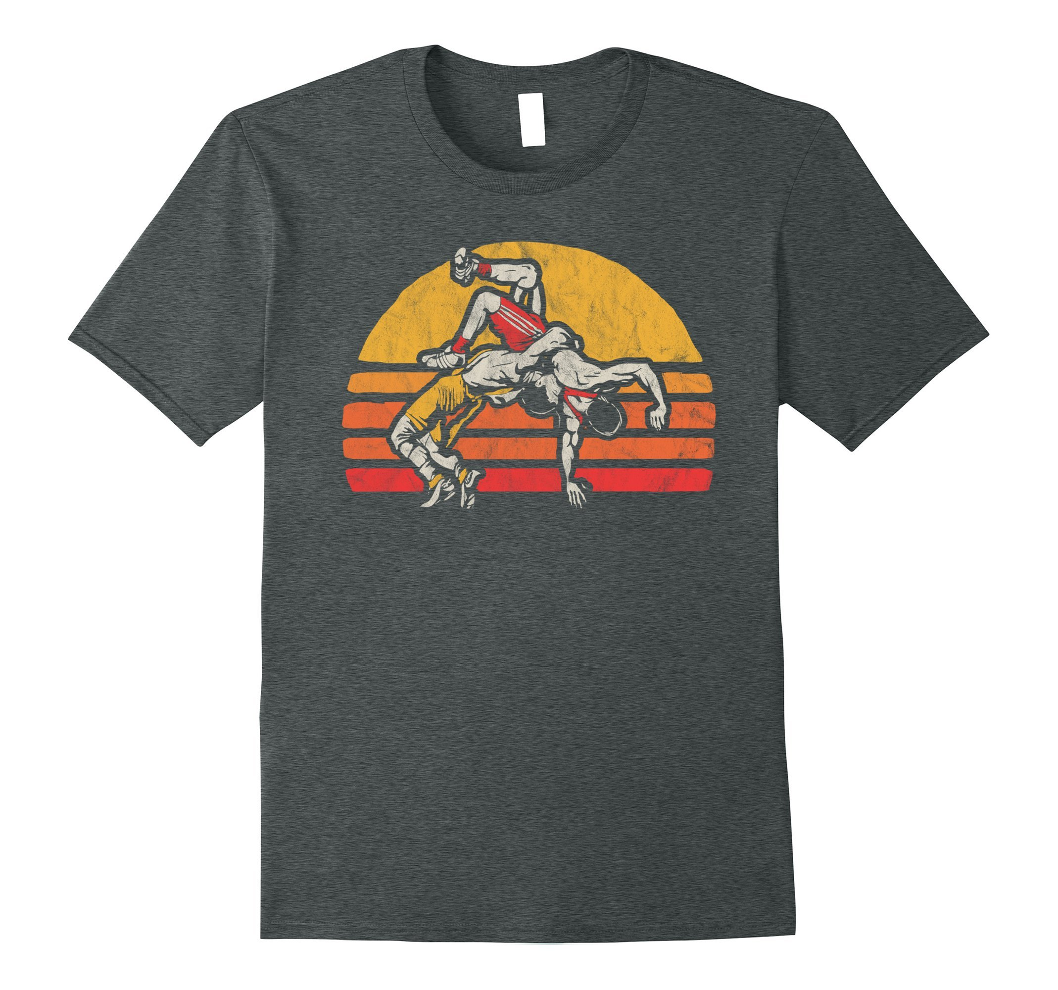 Mens Vintage Wrestling Graphic T-Shirt - Two Wrestlers and Sun Small Dark Heather