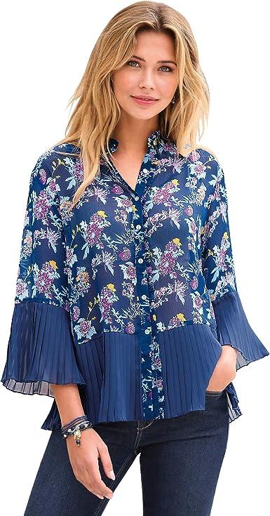 VENCA Camisa pequeño Volante Fruncido en el Cuello Mao y Tapeta Mujer by Ven - 016624, Estampado Azul Indigo, S: Amazon.es: Ropa y accesorios