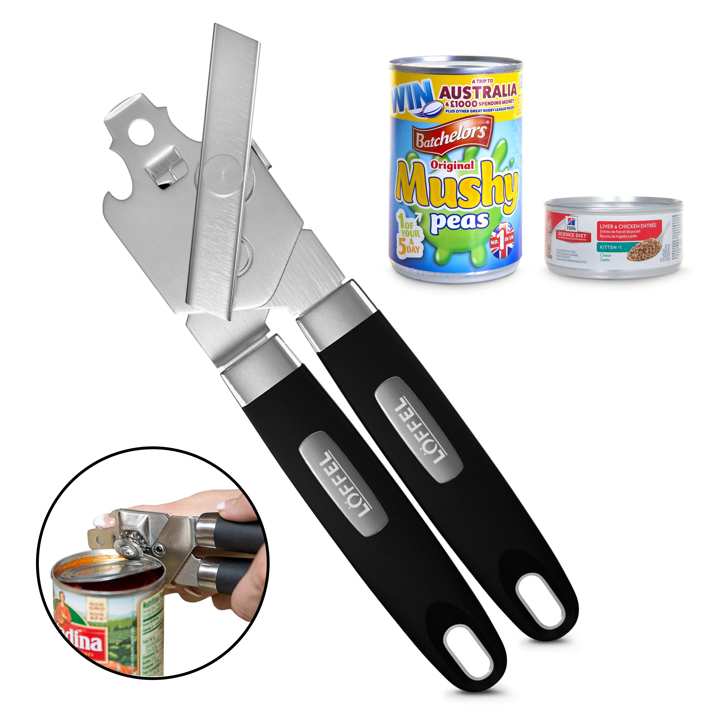 Stainless Steel Manual Can Opener – Tin Can Opener with Non-Slip Safety Grip for Seniors with Arthritis – Made of Heavy Duty Industrial Materials for Smooth Portable Kitchen Cooking and Can Opening