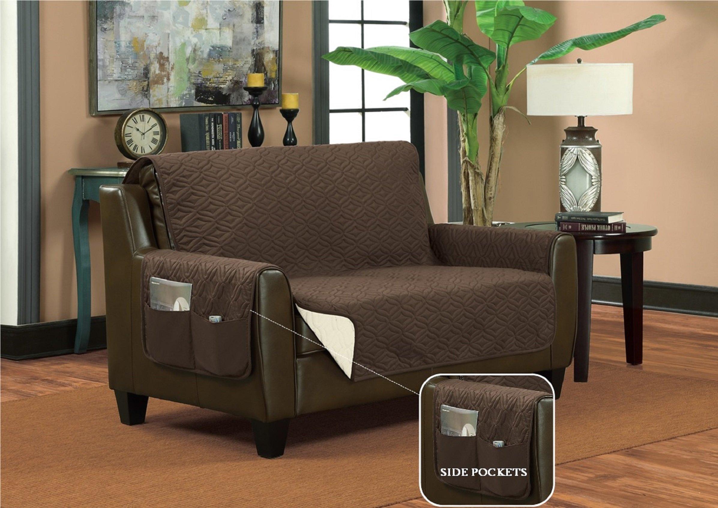 Bella Kline Reversible SOFA Furniture Protector, With 2 Storage Pockets - Mocha / Tan by BELLA KLINE DESIGN (Image #2)