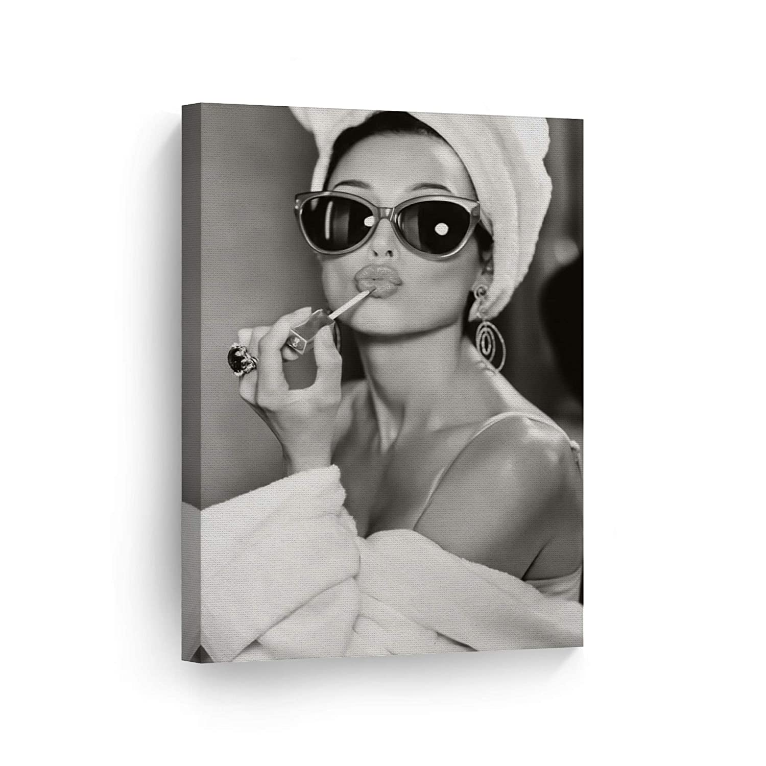 SmileArtDesign Audrey Hepburn Wall Art Makeup Canvas Print Iconic Pop Art Pretty Beauty Black and White Home Decor Artwork Gallery Stretched and Ready to Hang -%100 Handmade in The USA - 36x24