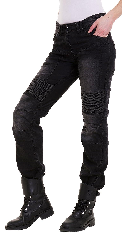 Qaswa Donna Moto Jeans Motorcycle Protezione Pantaloni Biker Slim Fit Trouser Pants