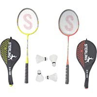 Tima Set of Badminton Rackets, Pair of 2 Rackets, Lightweight & Sturdy, with 4 Feather SHUTTLECOCKS, for Professional & Beginner Players, Cover Included
