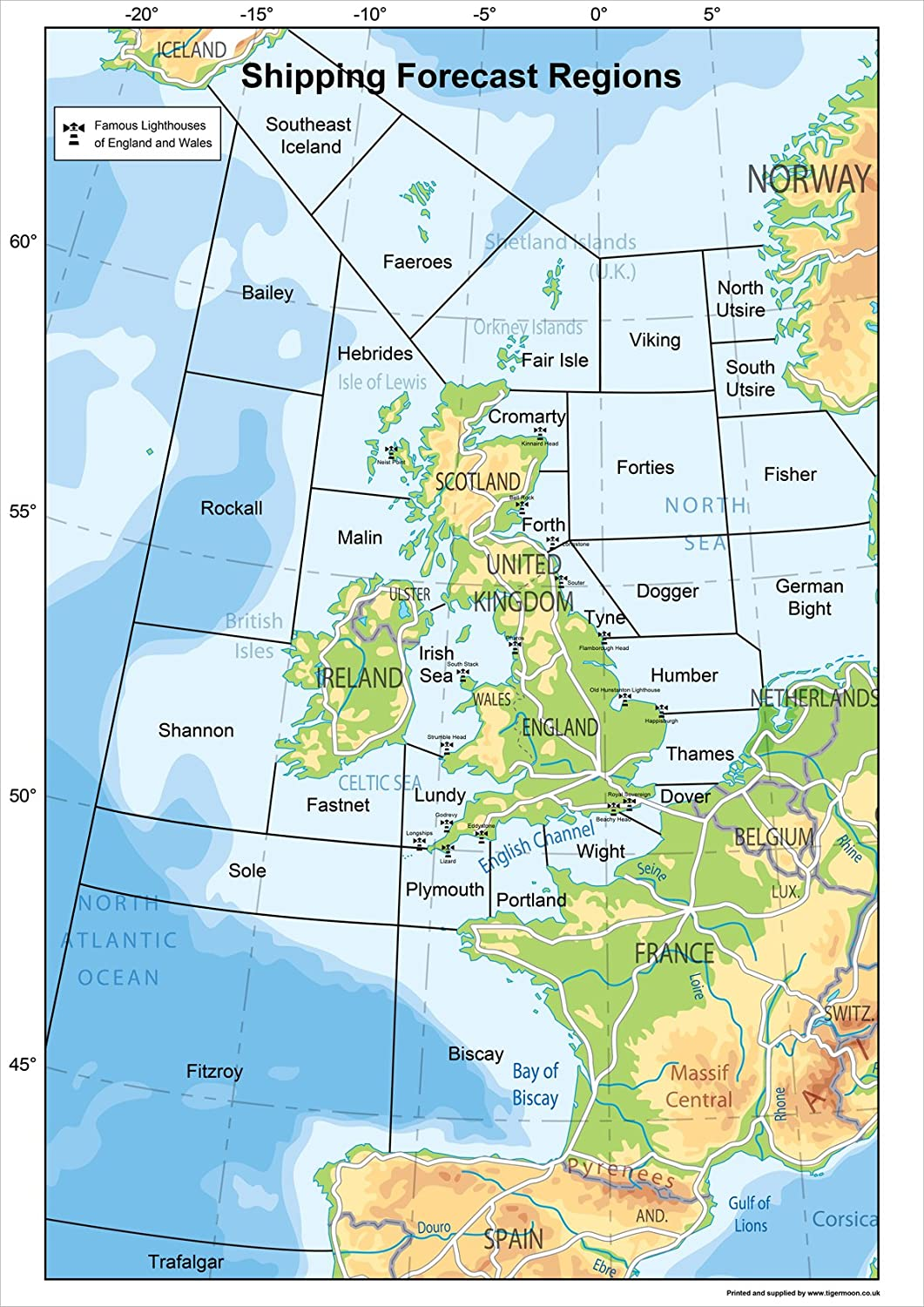 Map Of Uk 1500.United Kingdom Shipping Forecast Regions Map A2 Size 42 X 59 4 Cm