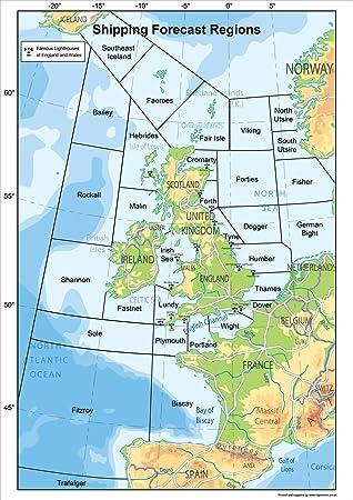 Shipping Forecast Map United Kingdom Shipping Forecast Regions Map (A2 Size 42 x 59.4 cm