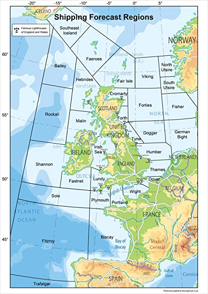 Map Of Uk Showing Regions.United Kingdom Shipping Forecast Regions Map A2 Size 42 X 59 4 Cm