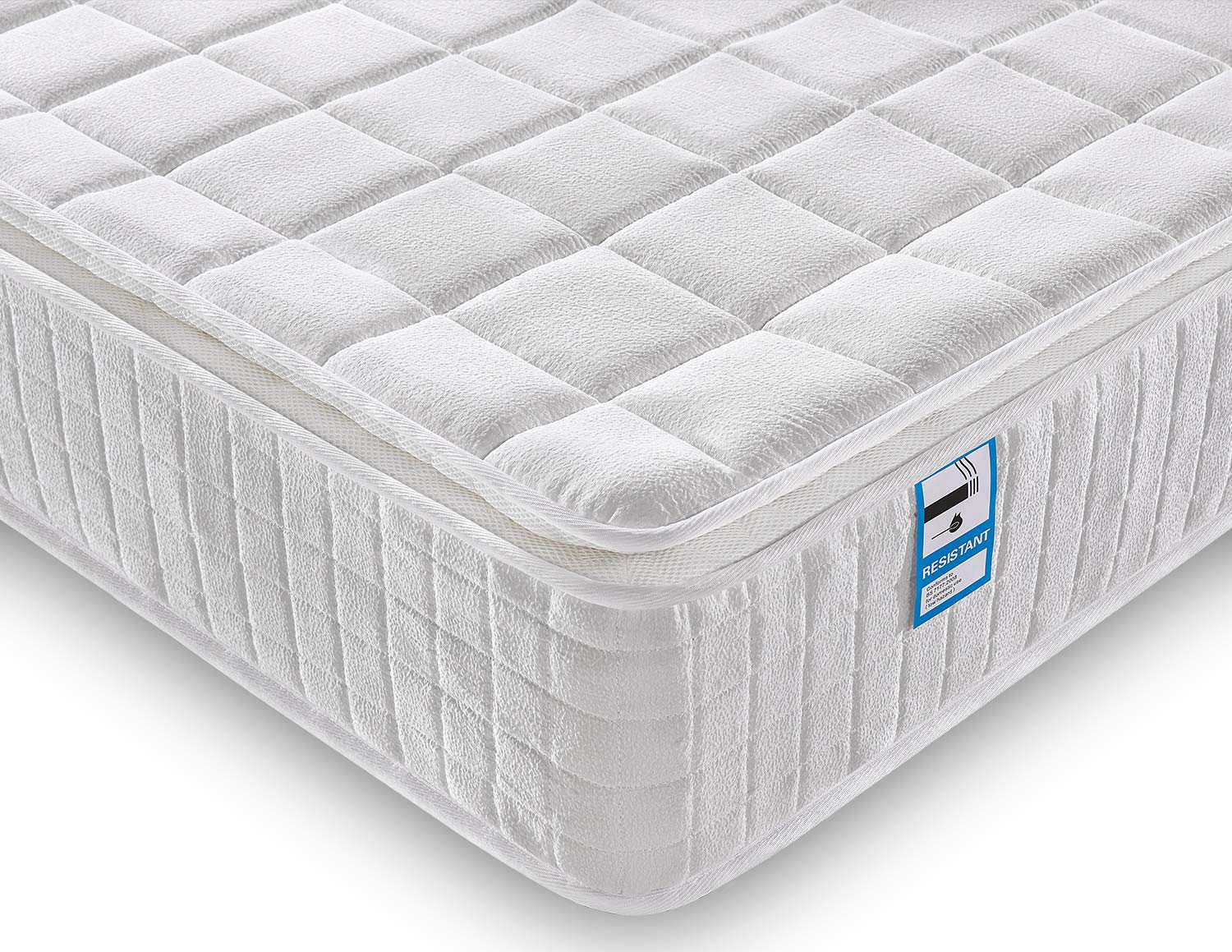 Ej. Life Small Single Mattress, Nine Zone Pocket Sprung Mattress 2FT6 Double Memory Foam Mattress with Breathable Broche Fabrics