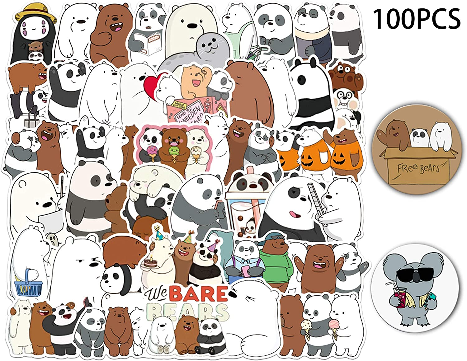 Kilmila We Bare Bears Stickers 100Pcs(with 2 Pack of Bear Buttons Badges Pins ).Gifts Merch We Bare Bears Party Supplies Cute Sticker for Laptop Graffiti