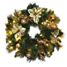 ANSIO Christmas Decorations Pre-Lit Christmas Wreath 36 LED Warm White Gold Decorations 24 Inch/60 CM - Mains Operated 5M/16ft Lead cable