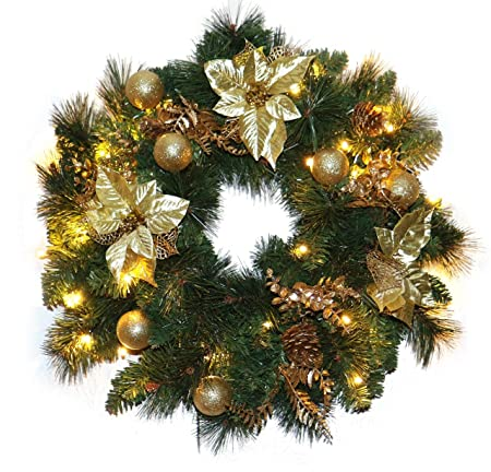 Gold Christmas Wreath.Christmas Decorations Pre Lit Christmas Wreath 36 Led Warm White Gold Decorations 24 Inch 60 Cm Mains Operated 5m 16ft Lead Cable