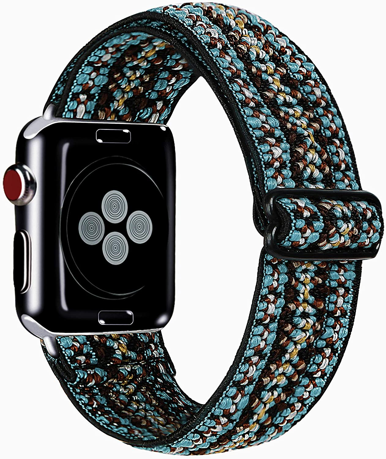 MONOBLANKS Adjustable Elastic Watch Band Compatible with Apple Watch 38mm 40mm 42mm 44mm,Soft Stretchy Loop Strap Replacement Wristband for Iwatch Series SE/6/5/4/3/2/1