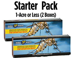 SPARTAN MOSQUITO ERADICATOR ONE Acre Starter Pack (2 Boxes); Best Whole Yard Outdoor Killer Barrier Solution; More Effective Than ShortTerm Insect Repellent Trap Mosquito Free Backyard Garden Patio