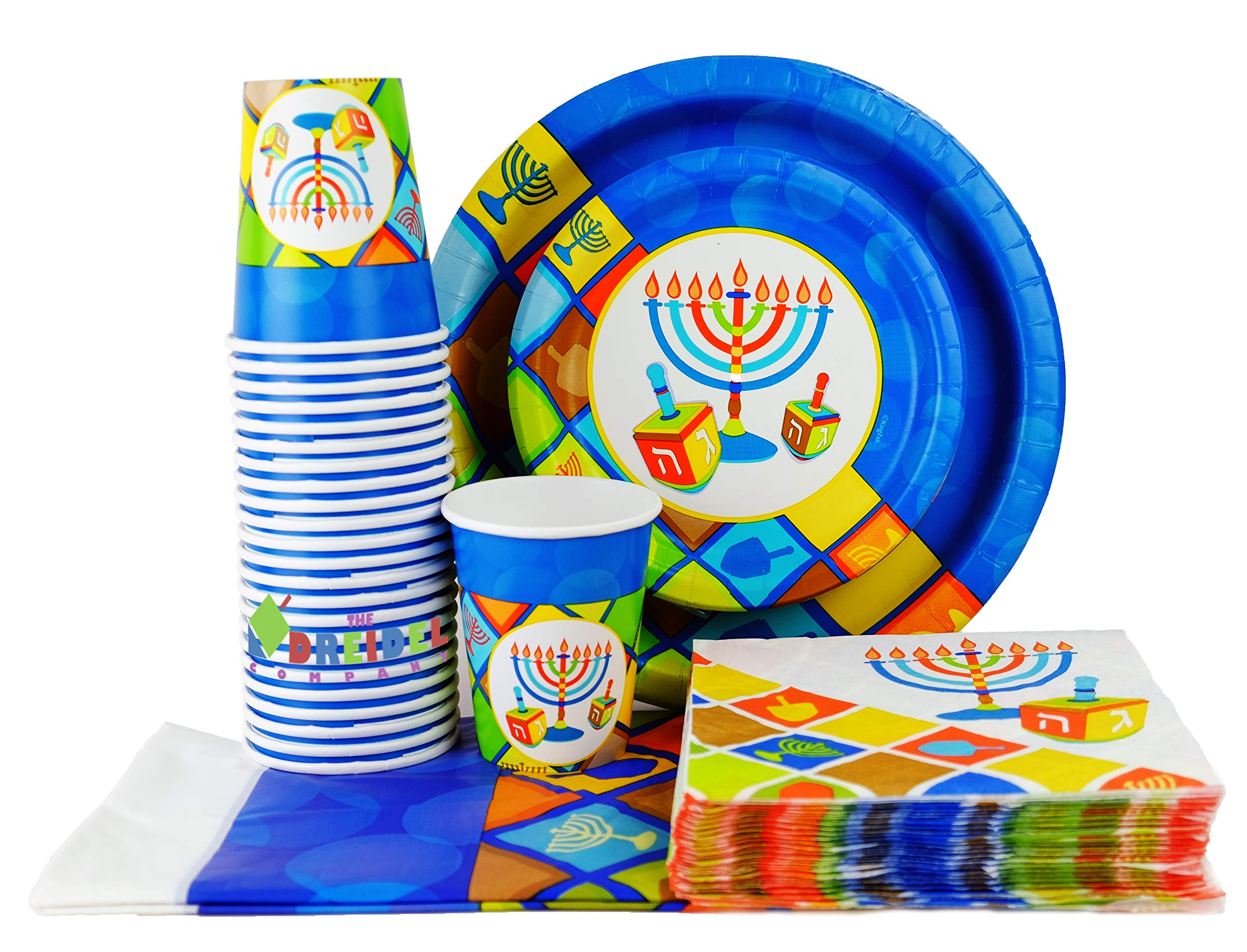 Happy Hanukkah Illumination Design - Paper Goods Party Set - 7'' and 10'' Plates, Cups, Napkins and Table Cover