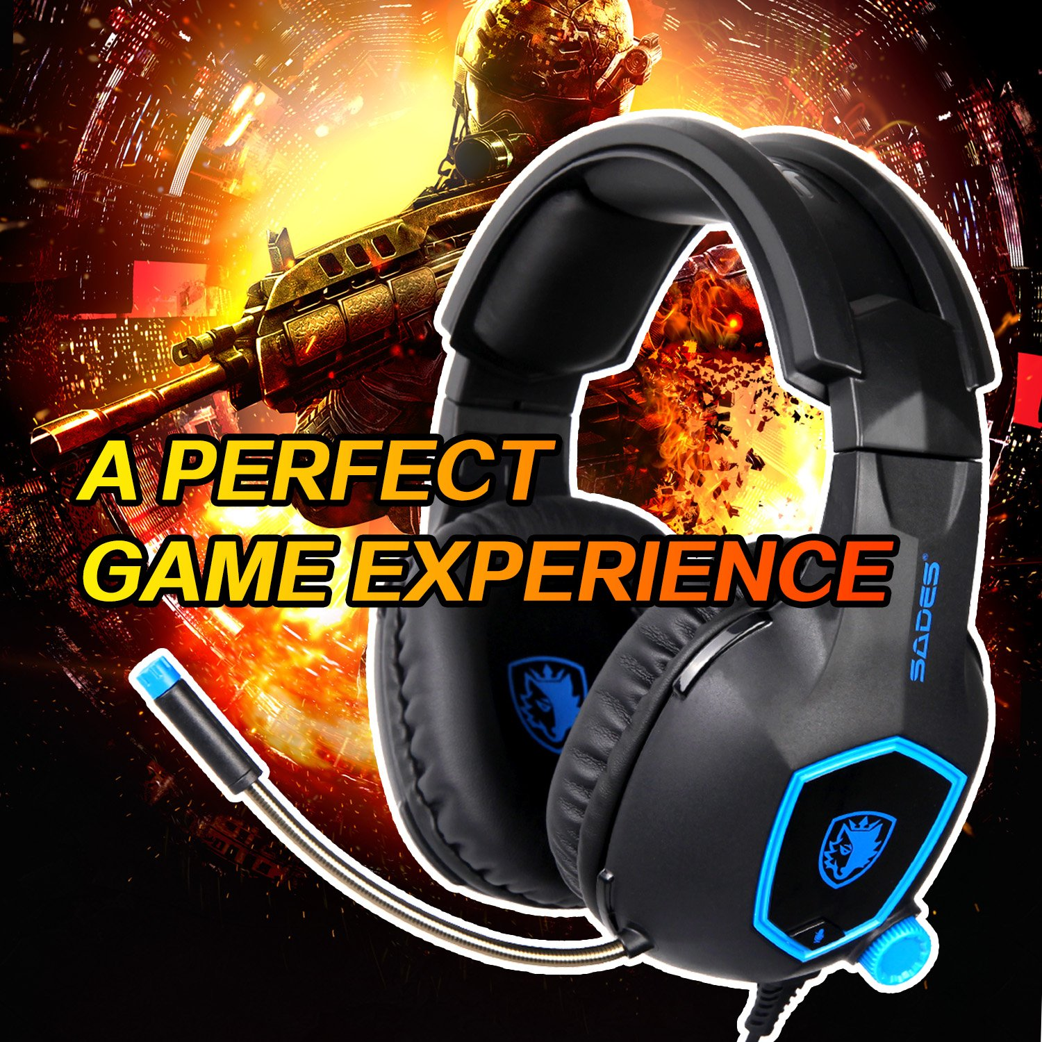 PS4 PRO SADES SA818 Xbox One PS4 PC Gaming Headset Gaming Over Ear Headphones with Mic For PS4 Black/&Blue Xbox One Xbox One S,Laptop Mac Tablet iPhone iPad iPod