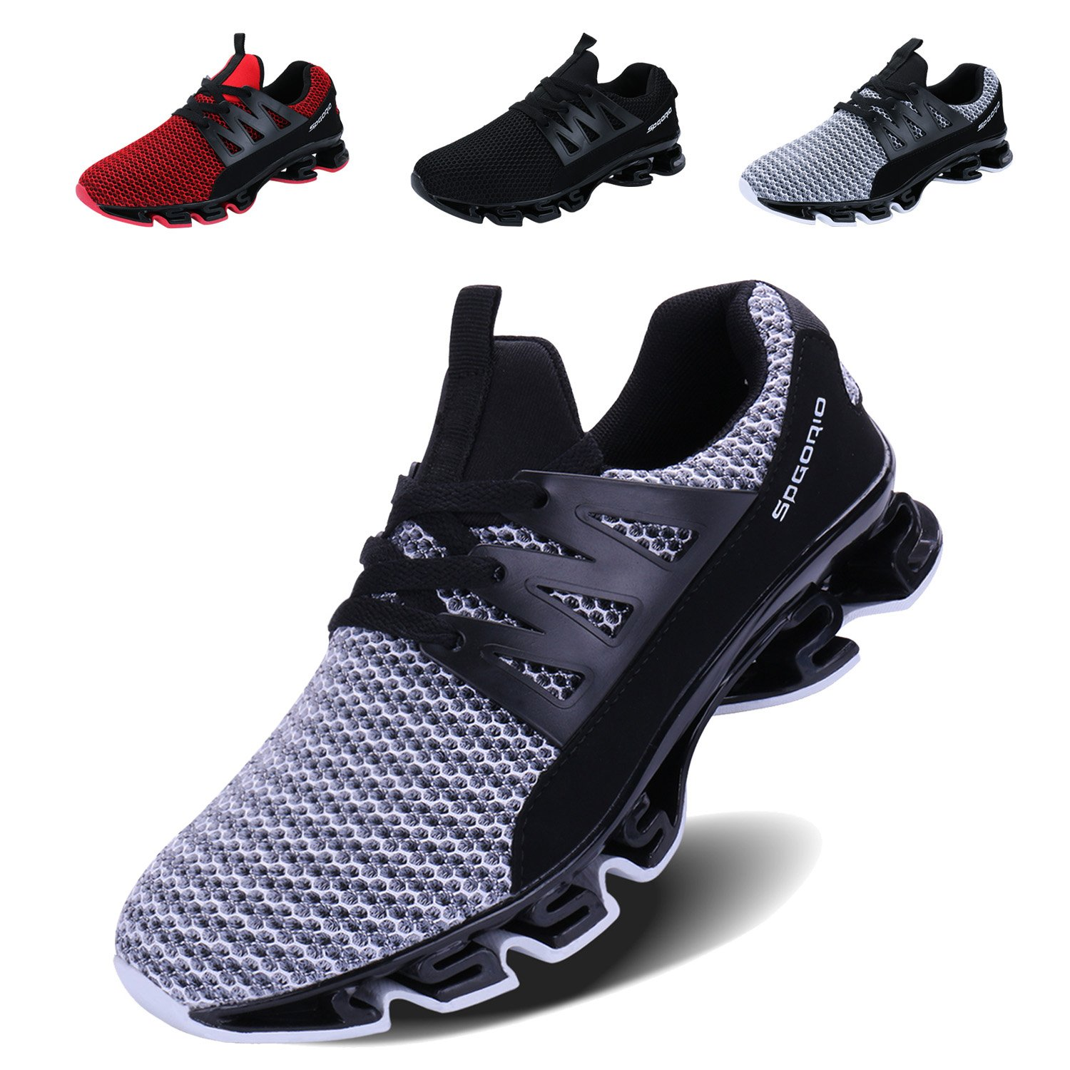 1_grey 10 US VOEN Mens Casual Walking shoes Blade Outdoor Sport Sneakers Mesh Breathable Fashion shoes
