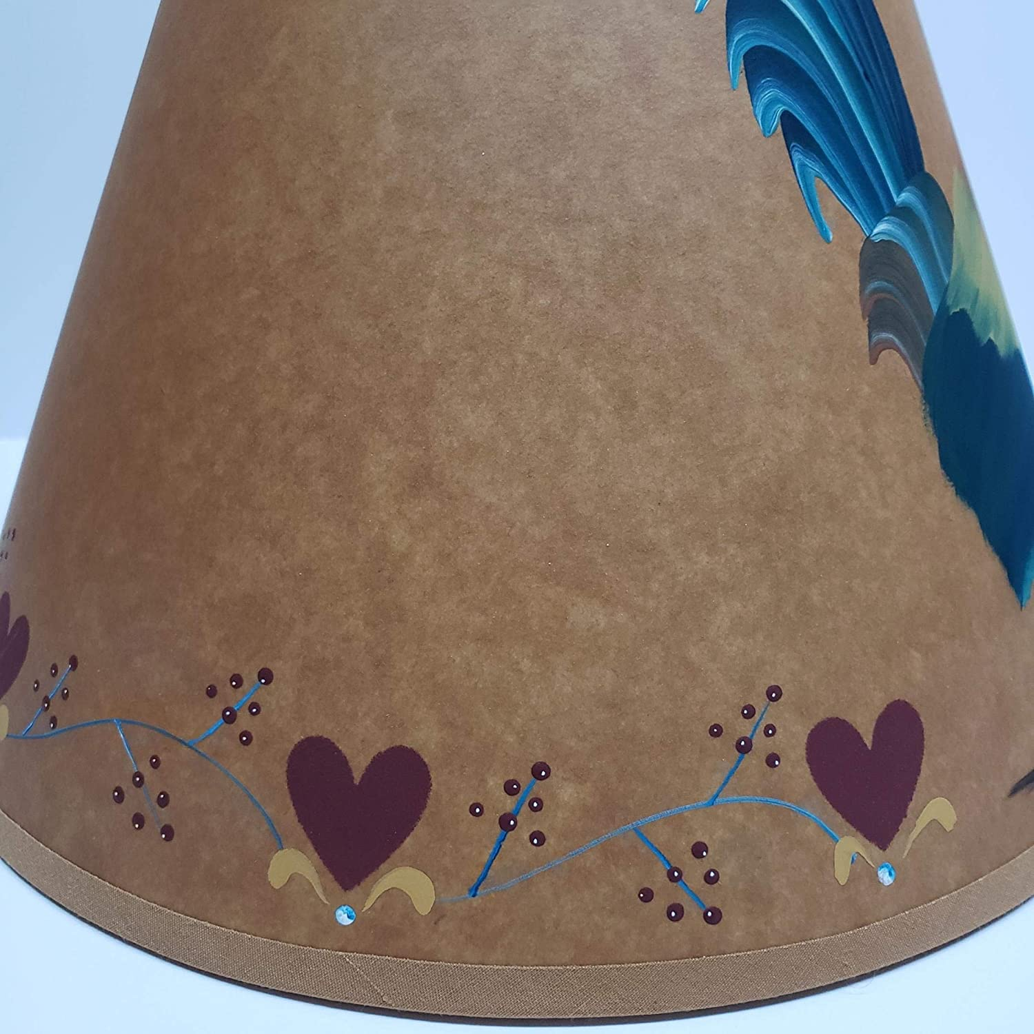 Primitive Country Decor Folk Art Rooster Hand Painted Brown Oiled Craft Lamp Shade All Sizes