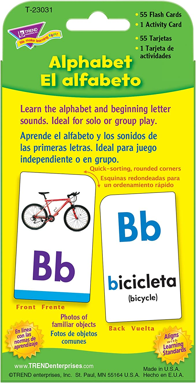 Trend Enterprises Inc. Alphabet/El Alfabeto (EN/SP) Pocket Flash Cards