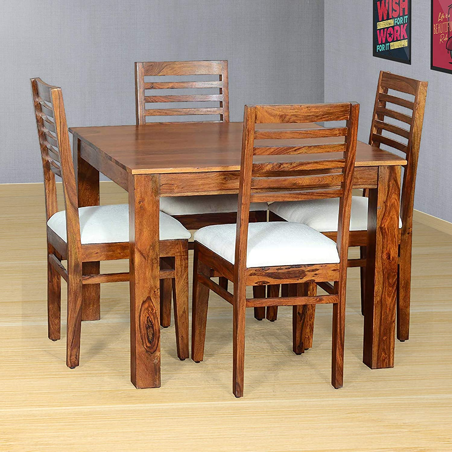 MH Decoart Solid Sheesham Wood 9 Seater Dining Table Set with 9 Cushion  Chairs for Dining Room Living Room Wooden Furniture Dining Room Set Teak  ...