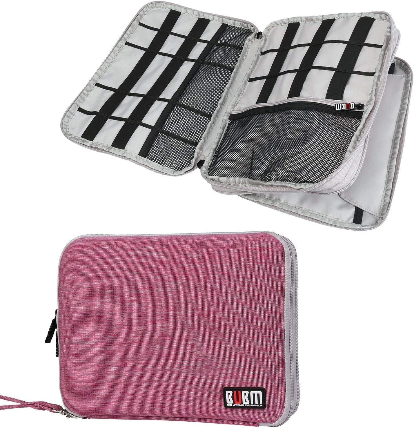 BUBM Universal Travel Gear Organiser Double Layer with Zipper Closure Memory Cards and More Battery Ultra High Capacity Electronics Accessories Bag for iPad Large, Grey and Orange USB Cables