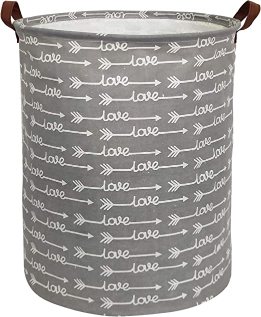 Grey Love Arrows HIYAGON Large Storage Baskets,Waterproof Laundry Baskets,Collapsible Canvas Basket for Storage Bin for Kids Room,Toy Organizer,Home Decor,Baby Hamper
