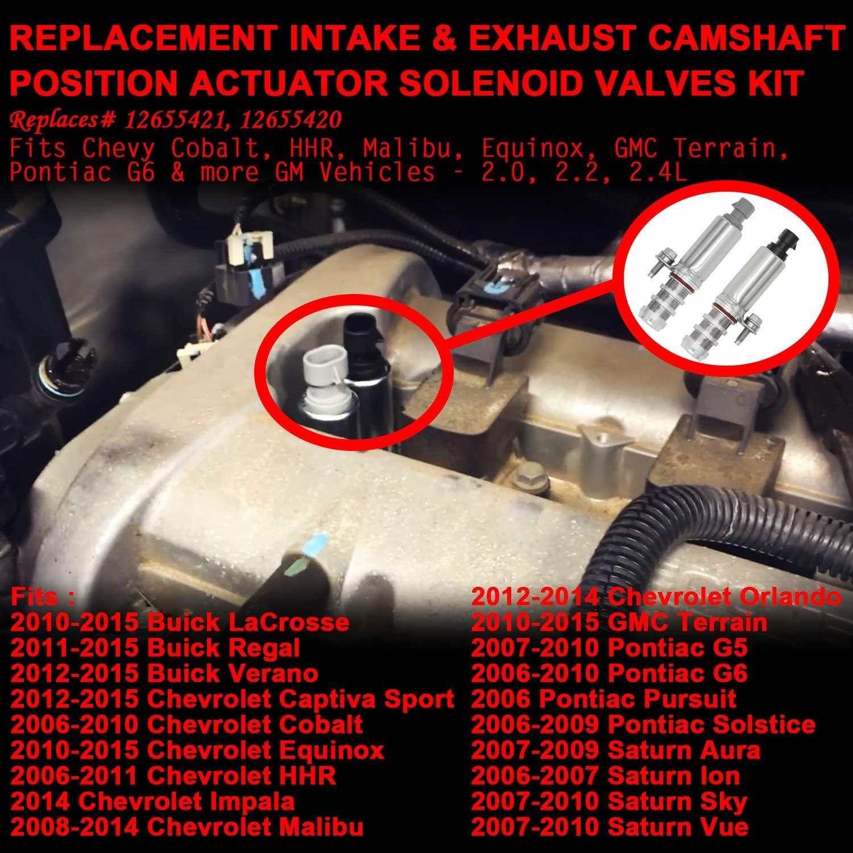 Equinox HHR Intake /& Exhaust Camshaft Position Actuator Solenoid Valve Kit Replaces Part Number 12655421 Malibu Pontiac G6 /& more GM Vehicles 2.0 2.2 2 GMC Terrain 12655420 Fits Chevy Cobalt