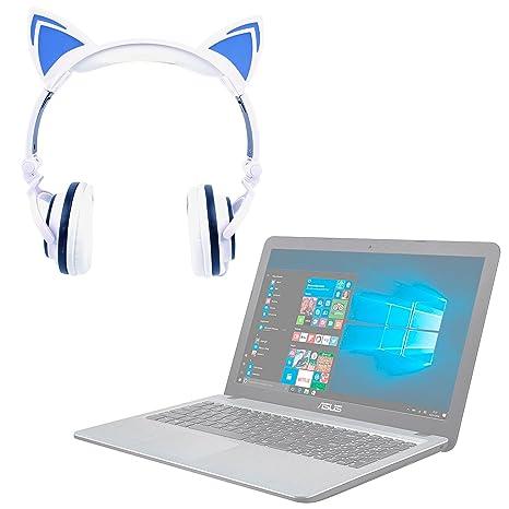 DURAGADGET Auriculares Plegables estéreo con diseño de Orejas de Gato en Color Blanco para Ordenador portátil