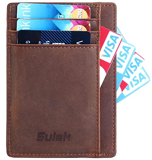 dde386982e07 Minimalist Slim Wallet RFID Leather Front Pocket Wallet Thin Credit Card  Holder
