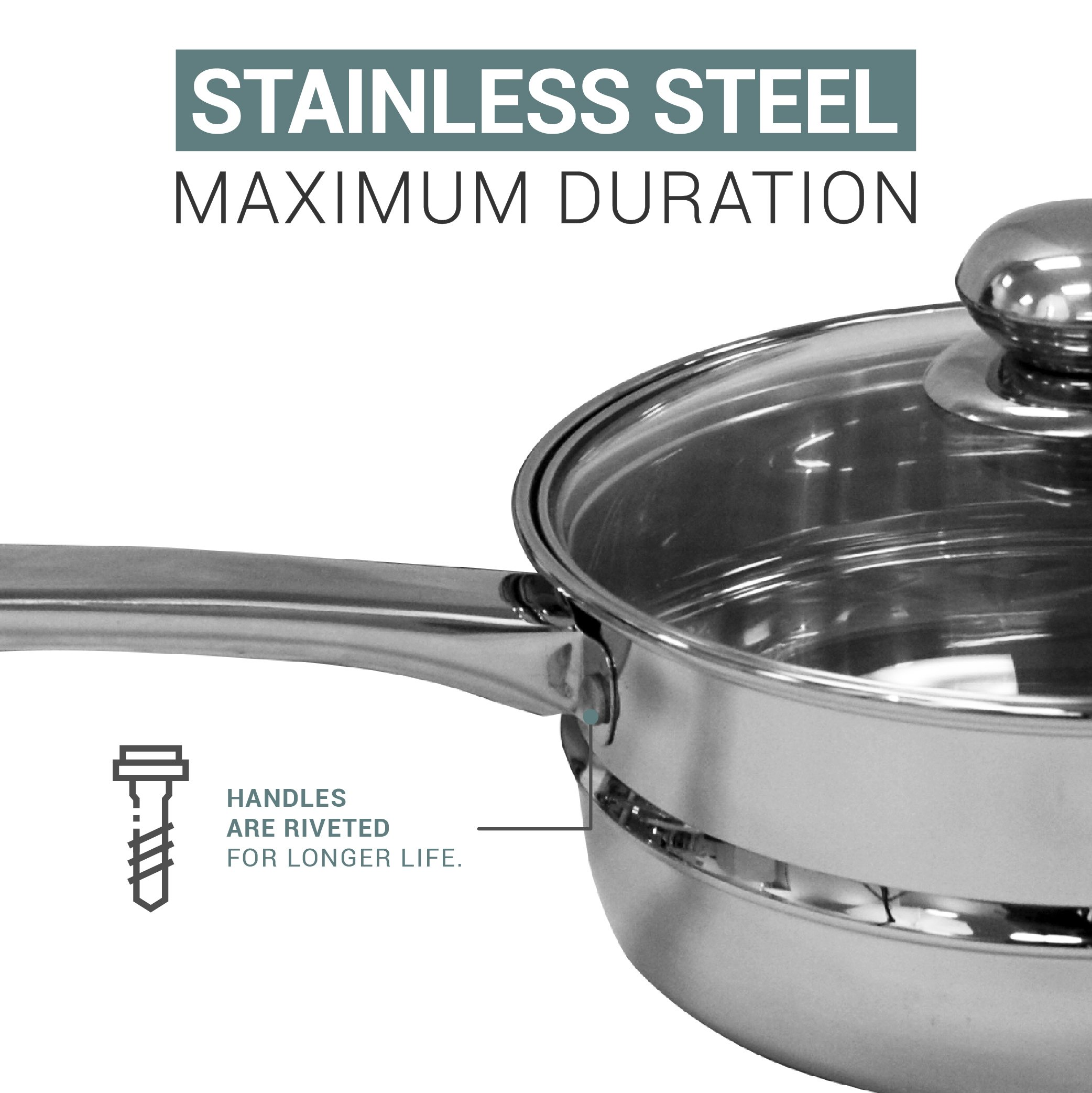 Double Boiler & Steamer Pot by Purelife - Induction Cookware Stainless Steel Chocolate Melting & Cooking Pot with Tempered Glass Lid, Dishwasher & Oven Safe - 3 Qt & 4 Pieces Kitchen Set by purelife (Image #5)