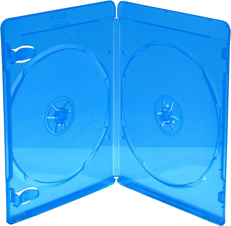 MediaRange BOX39-2-50 Blu-ray case 2discos Azul, Transparente funda para discos ópticos - Fundas para discos ópticos (Blu-ray case, 2 discos, Azul, Transparente, De plástico, 120 mm, Resistente al pol