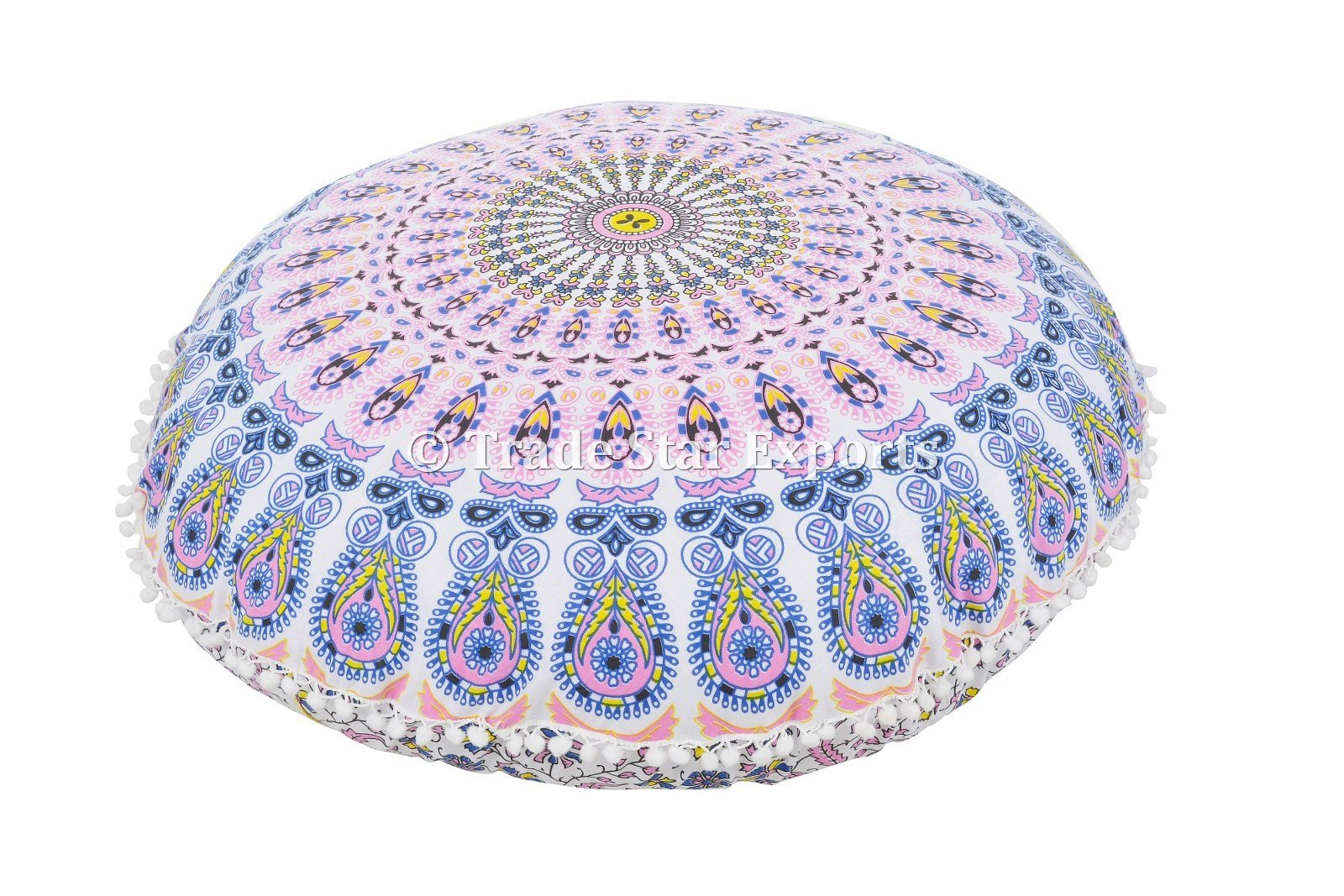Round Mandala Floor Pillow, Indian Outdoor Cushions, Decorative Throw Pillowcases 32'', Roundie Boho Cushion Cover, Pom Pom Pillow Shams With Insert