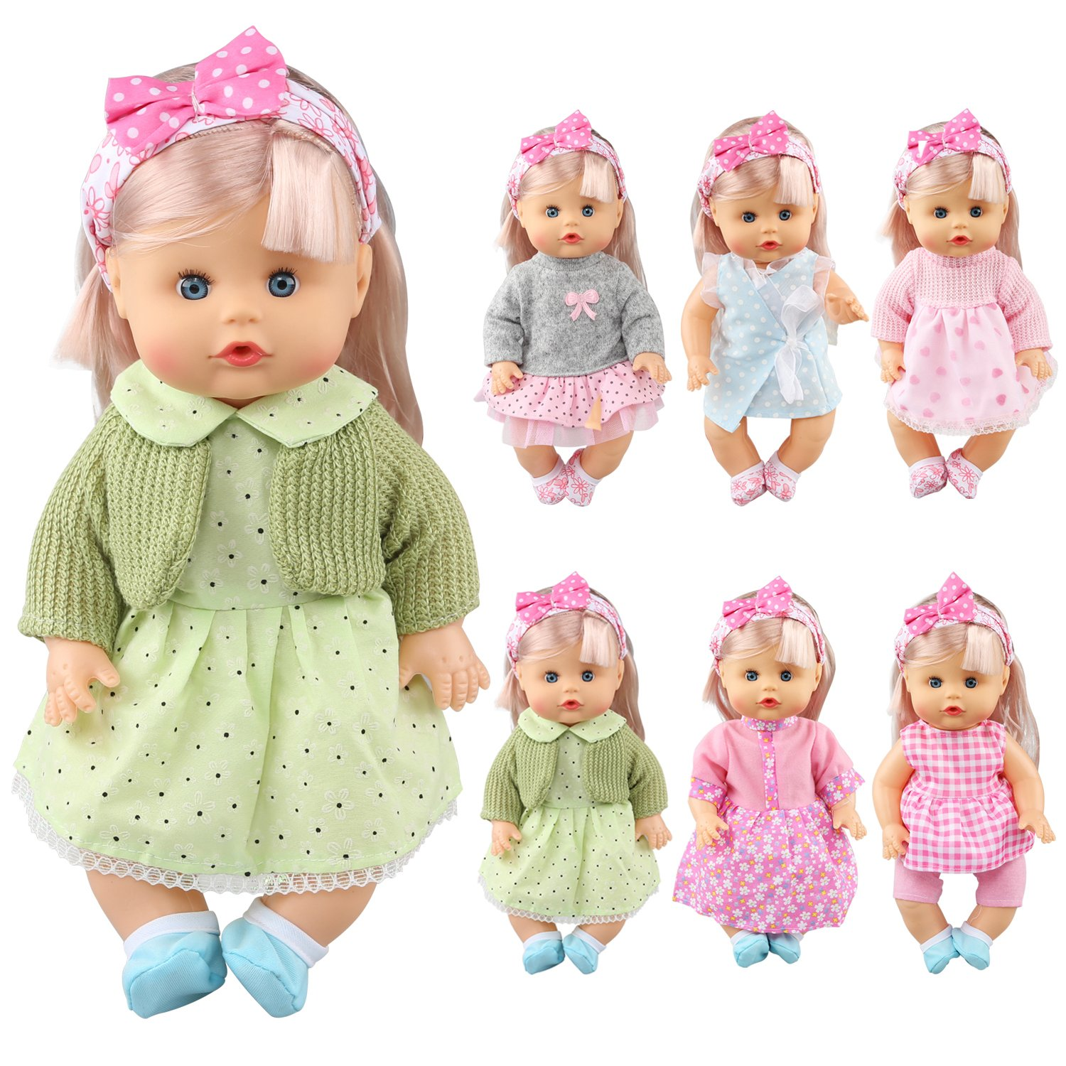 Pack of 6 Alive Lovely Baby Dress Clothes Accessories Gown Outfits Fits for 12inch Doll Bitty Baby Doll Chenghai