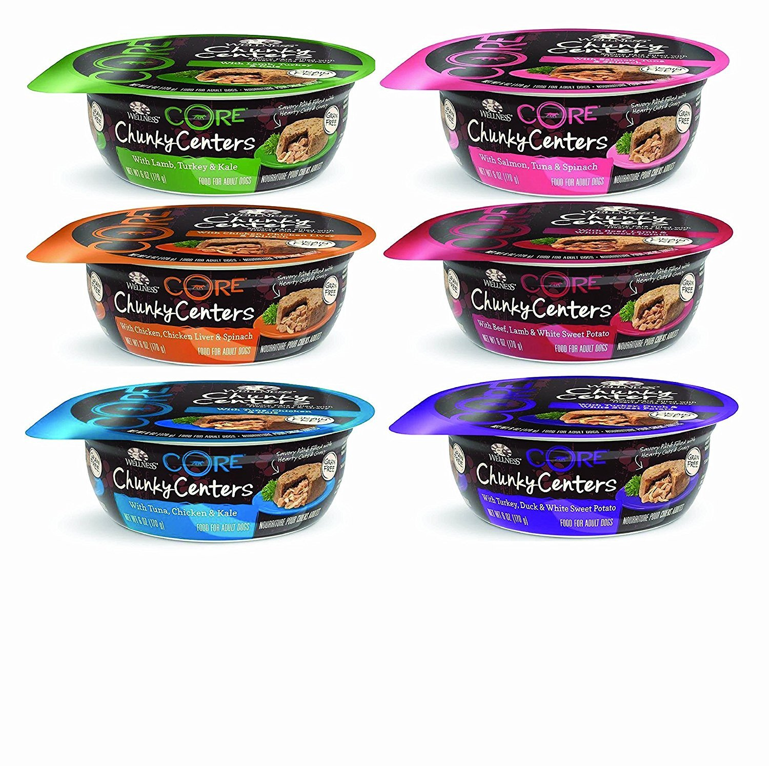 Wellness Core Chunky Centers Adult Dog Food Variety 6 oz x 12 cans 6 Flavors Chicken, Beef, Lamb, Turkey, Tuna, and Salmon