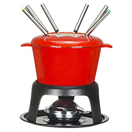 Amazon.com: VonShef Fondue Set - Stylish Red Cast Iron Porcelain Enamel - For All Styles of Fondue Such As Cheese And Chocolate: Kitchen & Dining