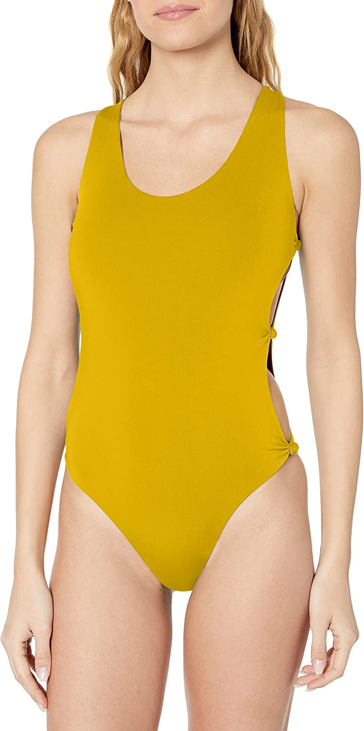 Red Carter Womens Indian Summer Reversible Solid Open-Side One Piece Swimsuit