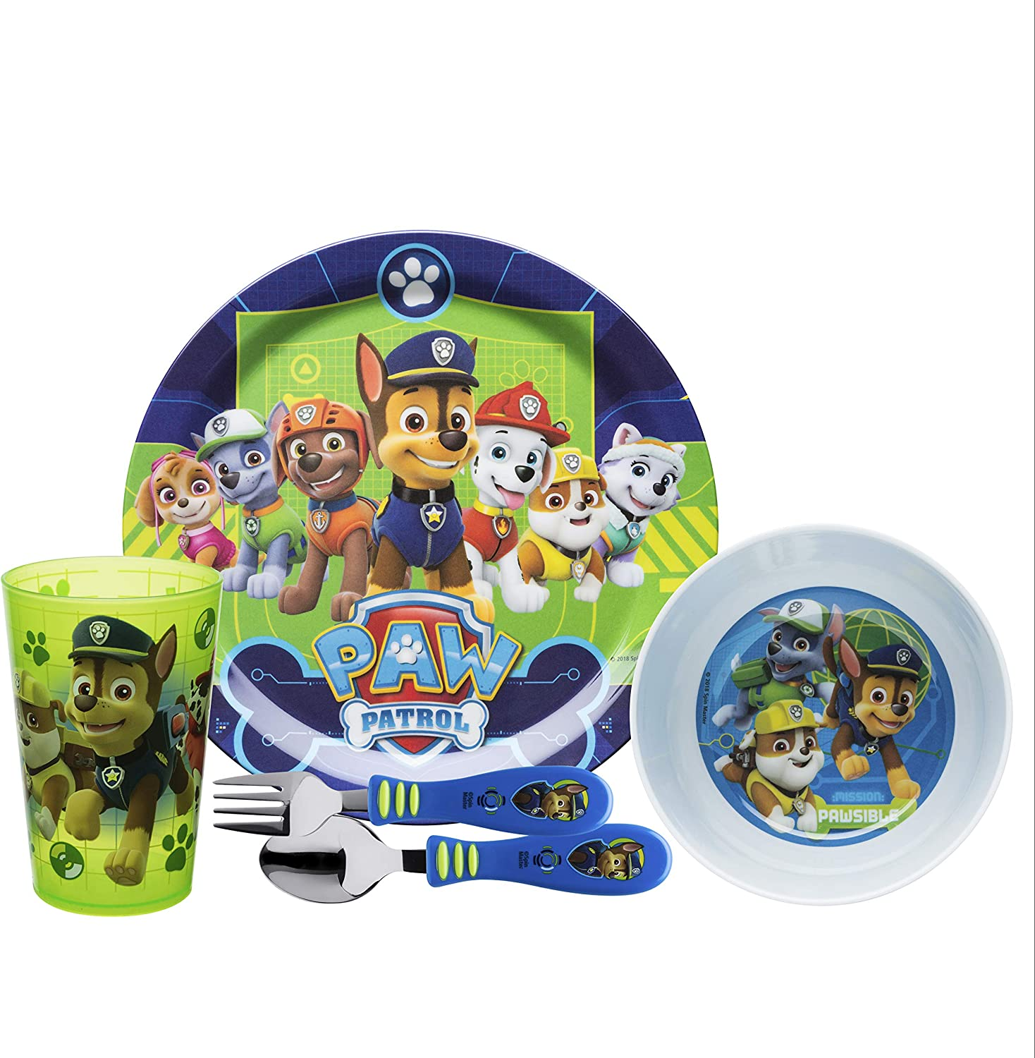 Zak Designs Paw Patrol Kids Dinnerware Set Includes Plate, Bowl, Tumbler and Utensil Tableware, Made of Durable Material and Perfect for Kids (Chase & Rubble, 5 Piece Set, BPA-Free)