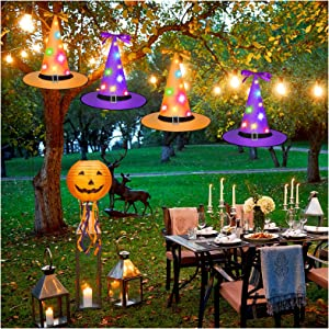 Halloween Witch Hat Lights, Glow Halloween Decor Outdoor Hanging Witch Hats String Lights for Outdoor, Indoor and Yard, Halloween Decorations, 4Pcs