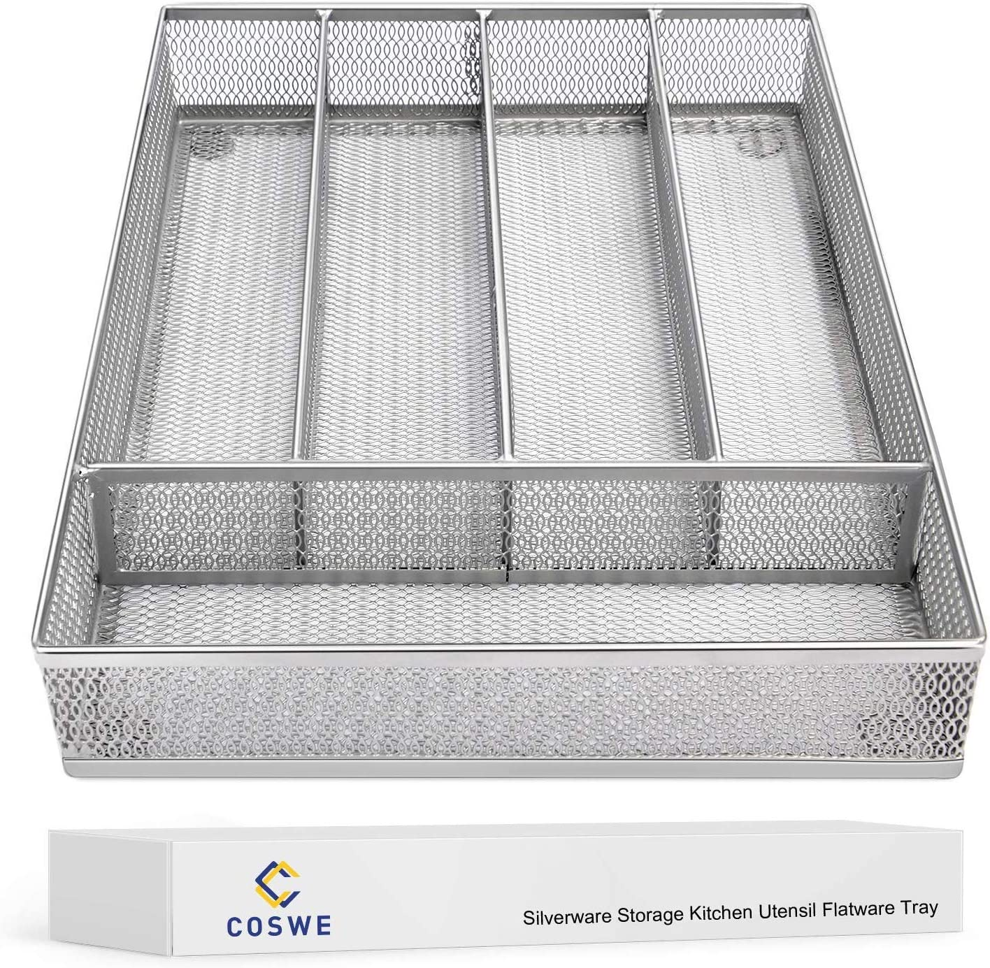 Flatware Tray Utensil Drawer Organizer Kitchen Utensil Cutlery Tray Mesh Designing with Foam Feet Multi Compartments Keep Desk Drawer and Office Supplies Well Organized (Silver): Kitchen & Dining