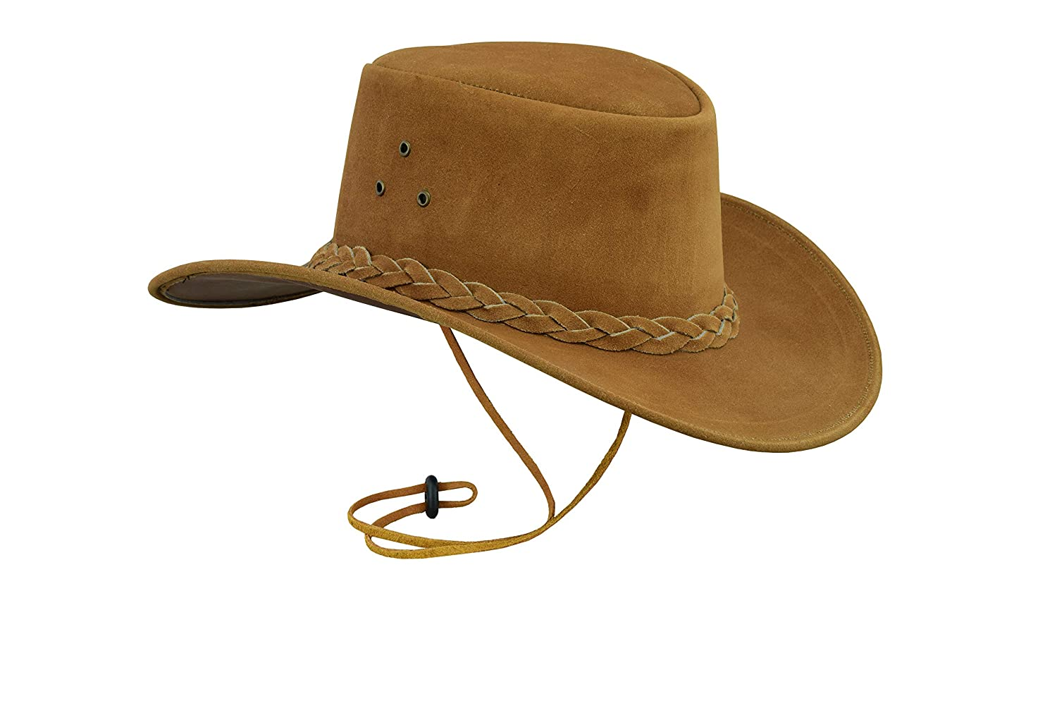 b04fa588cd7 Australian Western Style Cowboy Real Leather Bush HAT with Chin Strap