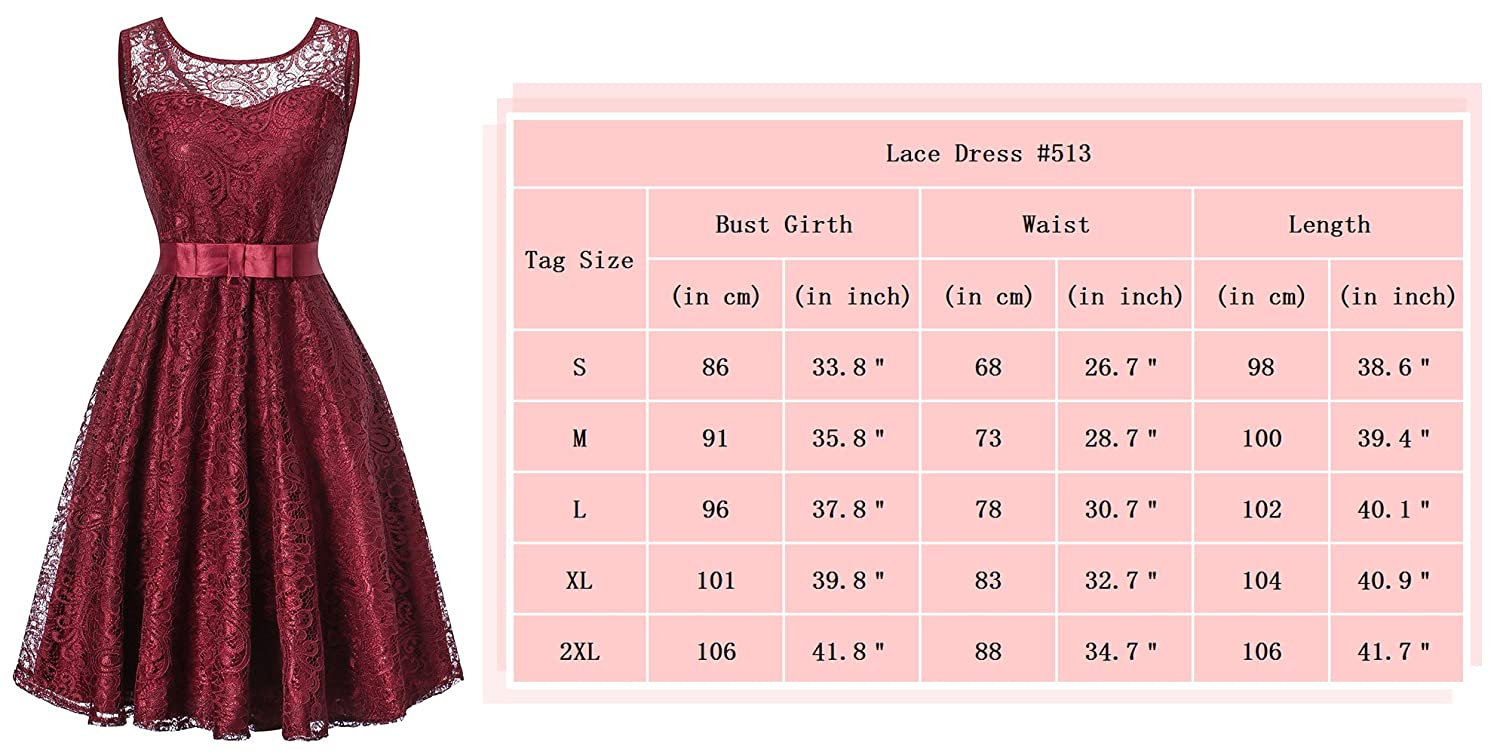 H HIAMIGOS Womens Floral Lace Bridesmaid Short Sleeveless Cocktail Party Prom Dress